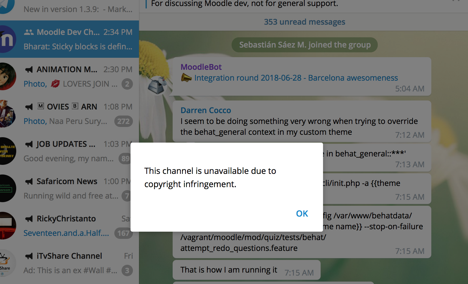 Telegram is blocking all movie sharing channels